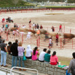 Motion Blur Of People Running With Bulls As Spectators Watch — Stock Photo #34395961