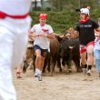 Men Run Ahead Of Stampeding Bulls At Unique Georgia Event — Stock Photo