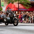 Indiana Jones Characters Ride Motorcycle In Atlanta Dragon Con Parade — Stock Photo