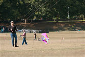Woman Holds Ropes And Steers Kite At Autumn Festival — Stock Photo