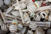 Discarded Light Bulbs Fill Box At Recycling Event — Stock Photo
