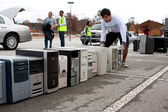 Old Computers Are Stacked At Recycling Day Event — Stock Photo