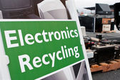 Sign Marks Spot For Electronics Dropoff At Recycling Event — Stock Photo