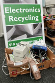 Signe marque spot à benne basculante électronique au recyclage d'événement — Photo