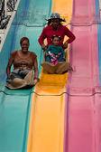 Family Goes Down Fun Slide At Atlanta Fair — Stock Photo