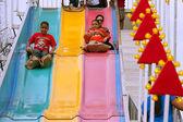 Family Slides Down Fun Slide At Atlanta Fair — Stock Photo
