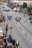 Two Teams Race Beds On City Street In Fundraiser Event — Stock Photo
