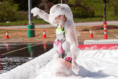 Woman Covered In Foam At Crazy Obstacle Course Race — Stock Photo