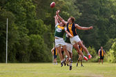 Players Jump For Ball In Australian Rules Football Game — Stock Photo