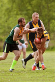 Player Avoids Being Tackled In Amateur Australian Rules Football Game — Stock Photo
