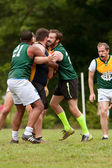 Player Gets Tackled In Amateur Game Of Australian Rules Football — Stock Photo