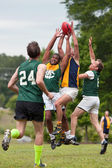Players Battle For Ball In Australian Rules Football Game — Stock Photo