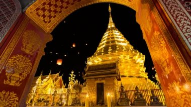 Wat Phra That Doi Suthep Famous Temple of Chiang Mai Thailand (and fire lantern background) — Stock Video