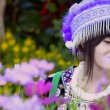 Stock Video: Cute asian young girl in beautiful hill tribe (HMONG) costume of northern thailand