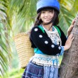 Stock Photo: Cute asian young girl in beautiful hill tribe (HMONG) costume of northern thailand