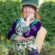 Cute asian young girl in beautiful hill tribe (HMONG) costume of northern thailand — Stock Photo #36310901