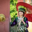Cute asian young girl in beautiful hill tribe (HMONG) costume of northern thailand — Stock Photo