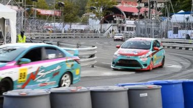 Chiang Mai, Thailand - October 20 - Racing Car Yaris One Make Race In Toyota Motorsport Thailand 2013 — Stock Video
