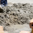 Labor mix cement in construction site — Stock Video