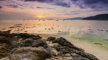 Time lapse sunset on sea of koh lipe island, thailand — 图库视频影像