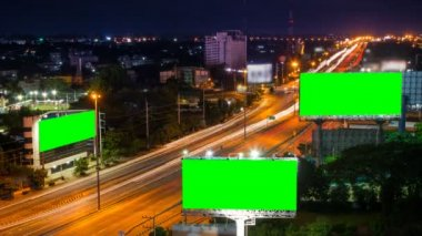 Time lapse long highway and three big billboard day to night — Stock Video