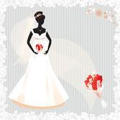 Schöne schwangere braut silhouette — Stockvektor