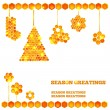 Royalty-Free Stock Vector Image: Holiday card with christmas honey icons
