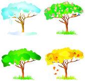 Vector four season trees — Stock Vector