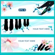 Fish sppedicure set of horizontal vector banners — Stock Vector #16262201