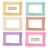Wooden picture frames pastel set — Stock Vector