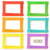 Wooden picture frames color set — Stock Vector