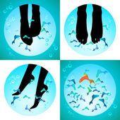 Fish spa pedicure set of vector icons — Stock Vector