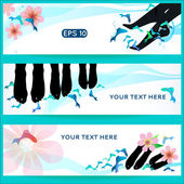 Fish spa pedicure set of horizontal vector banners — Stock Vector