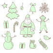 Stock Vector: Vector fun christmas icons with a boy