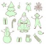 Vector fun christmas icons with a boy — Stock Vector