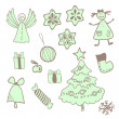 Vector fun christmas icons with a girl — Stock Vector