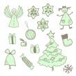 Vector fun christmas icons with a girl — Stock Vector