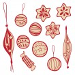 Set of holiday doodle balls and sweets — Stock Vector