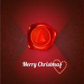 Selo vermelho com árvore de natal em letra vermelha — Vetorial Stock