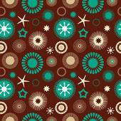 Seamless abstract floral pattern brown and blue — Stock Vector