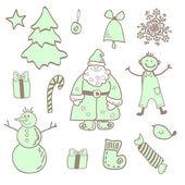 Vector leuke kerst iconen met een jongen — Stockvector
