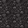 Fun christmas seamless black pattern — Stock Vector