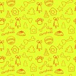 Fun christmas seamless lemon (yellow) pattern — Stock Vector