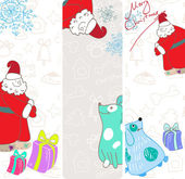 Vector fun christmas banners with blue dogs — Stock Vector