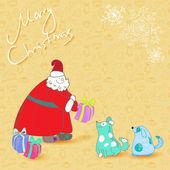 ベクトル楽しいクリスマス カード サンタと青い犬 — ストックベクタ