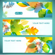 Three Banners of Shiny Colorful Autumn Leaves — Stock Vector