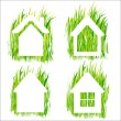Green grass home vector icons set 1. - Stock Vector