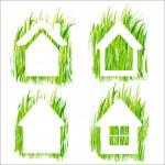 Green grass home vector icons set 1. — Stock Vector