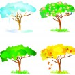 Vector four season trees — Stock Vector
