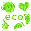Royalty-Free Stock Vector Image: Set of icons with green grass texture environment